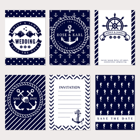 Nautical wedding invitation cards. Sea theme wedding party. Collection of elegant in white and dark blue colors.