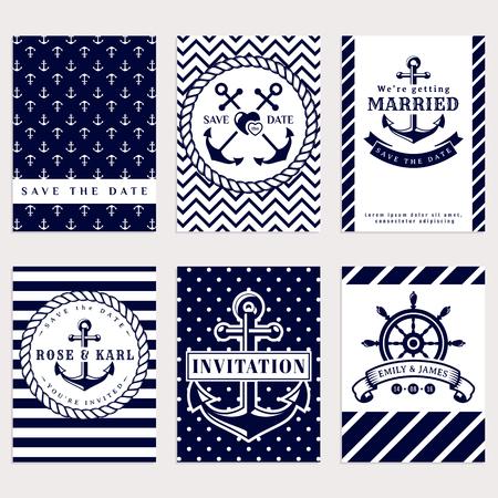biglietti d'invito di nozze nautico. tema di mare festa di nozze. Raccolta di elegante in bianco e scuro colori blu. Vettoriali