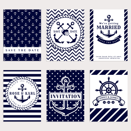 blue party: Nautical wedding invitation cards. Sea theme wedding party. Collection of elegant in white and dark blue colors.