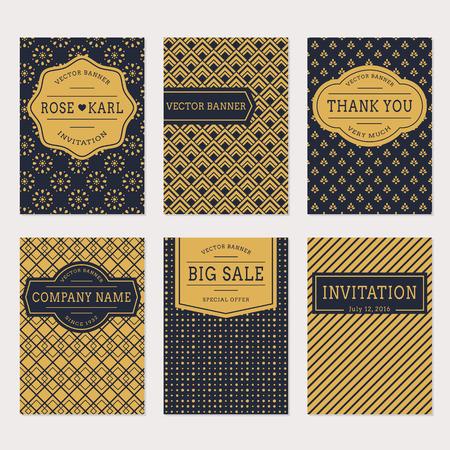 Set van trendy minimalistische met abstracte ornamenten. Elegante kaart sjablonen in zwarte en gouden kleuren. uitnodiging van het huwelijk, dank u kaarden, zaken van het bedrijf, verkoop label.