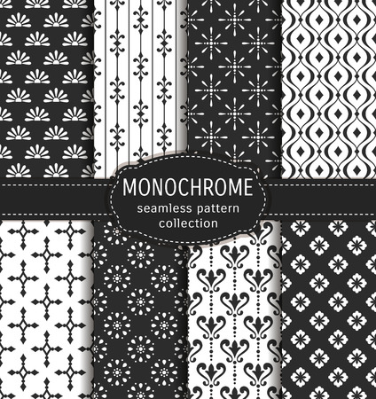 Abstract seamless patterns in black and white colors. Set of elegant backgrounds with damask, geometric and floral ornaments. collection. Illustration