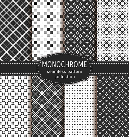 Abstract seamless patterns. Set of black and white backgrounds with abstract geometric ornaments. collection.