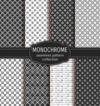 blanco: patrones transparentes abstractos. Conjunto de fondos en blanco y negro con adornos geométricos abstractos. colección. Vectores