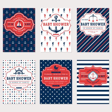 SeeBabyparty Karten. Sea Thema Babypartyeinladungen. Sammlung von niedlichen Banner in weiß, rot und blau. Set.