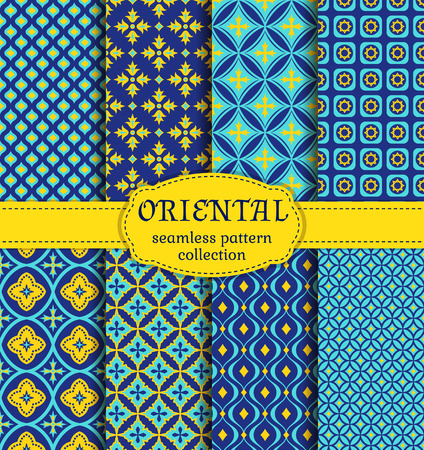 middle eastern: Eastern seamless patterns. Set in blue, indigo and yellow colors. Colorful collection of stylized oriental ornaments. abstract backgrounds.