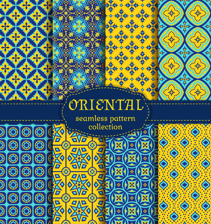 Eastern seamless patterns. Set in blue, indigo and yellow colors. Colorful collection of stylized oriental ornaments. abstract backgrounds. Векторная Иллюстрация