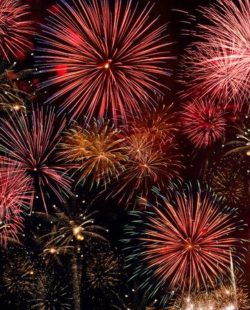 agleam: Colorful firework show. Compoesite of several images.