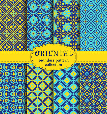middle eastern: Eastern seamless patterns. Set in blue, indigo and yellow colors. Colorful collection of stylized oriental ornaments. Trendy abstract backgrounds. Vector illustration.