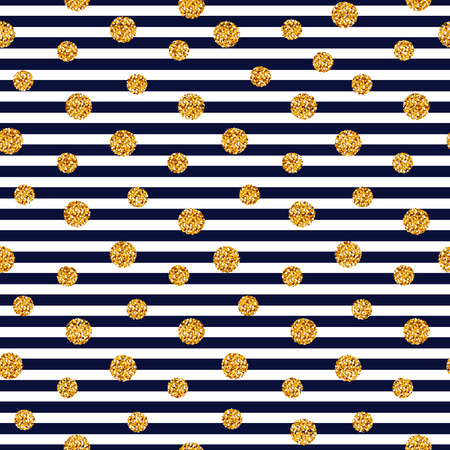 Striped background with gold glitter dots. Vector seamless pattern.