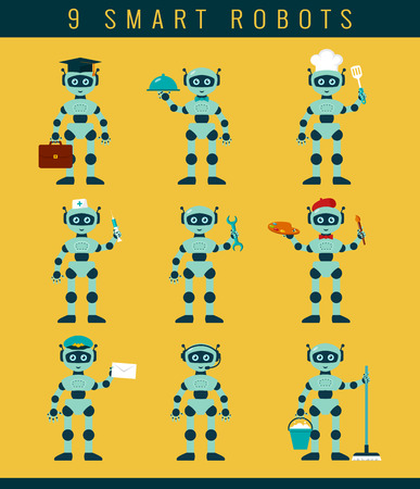 telemarketer: Robots occupations. Set of smart robots holding positions waiter, cleaner, postman, repairman, cook, nurse, artist, student, telemarketer. Future technologies. Vector collection of isolated icons.