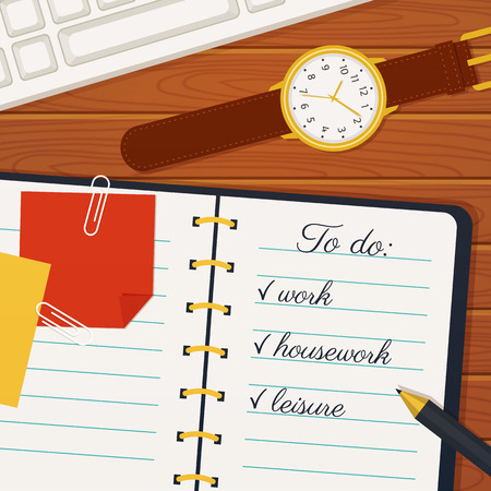 implementation: Time management banner. Efficient use of time for the implementation of the plans. Vector concept background. Top view of to do list in a notebook, wristlet watch, pen and keyboard on a wooden table.