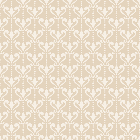beige background: Damask wallpaper. Elegant background in Victorian style. Elegant vintage ornament in neutral colors. Vector seamless pattern.