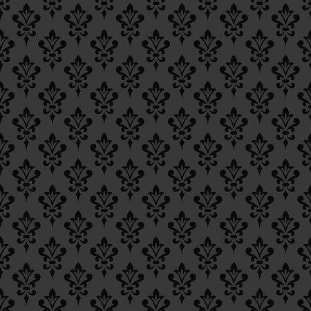 royals: Black damask wallpaper. Background in Victorian style. Elegant vintage ornament in monochrome colors. Vector seamless pattern. Illustration