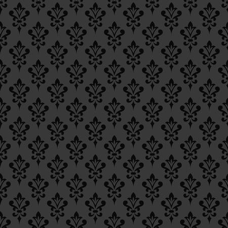 victorian wallpaper: Black damask wallpaper. Background in Victorian style. Elegant vintage ornament in monochrome colors. Vector seamless pattern. Illustration