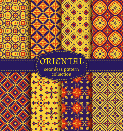 Eastern seamless patterns. Retro set in red, dark purple and yellow colors. Colorful collection of stylized oriental ornaments. Trendy abstract backgrounds. Vector illustration.