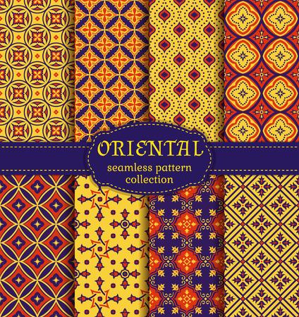 patrones de costura del Este. Retro fijó en colores púrpuras y amarillas, rojas oscuras. colorida colección de ornamentos orientales estilizadas. fondos abstractos de moda. Ilustración del vector.