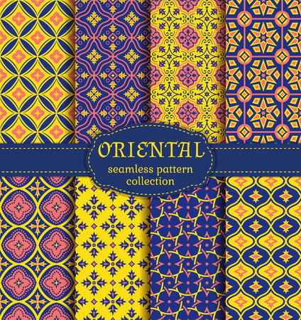 middle eastern: Eastern seamless patterns. Set in blue, pink and yellow colors. Colorful collection of stylized oriental ornaments. Trendy abstract backgrounds. Vector illustration. Illustration