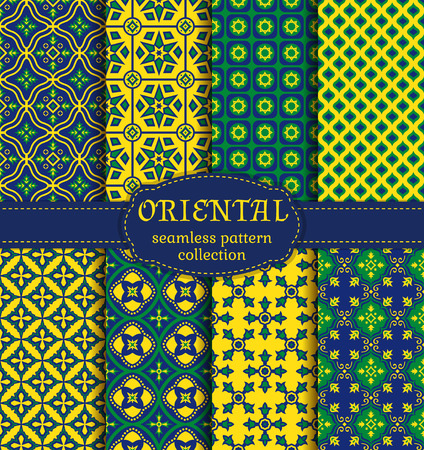 pakistani: Eastern seamless patterns. Set in green, blue and yellow colors. Colorful collection of stylized oriental ornaments. Trendy abstract backgrounds. Vector illustration. Illustration