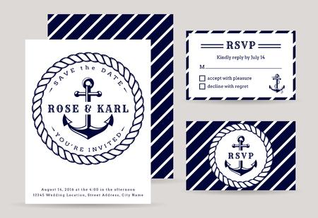 Biglietti d'invito per matrimoni nautici. Festa di matrimonio a tema mare. Modelli eleganti nei colori bianco e blu scuro. Raccolta vettoriale