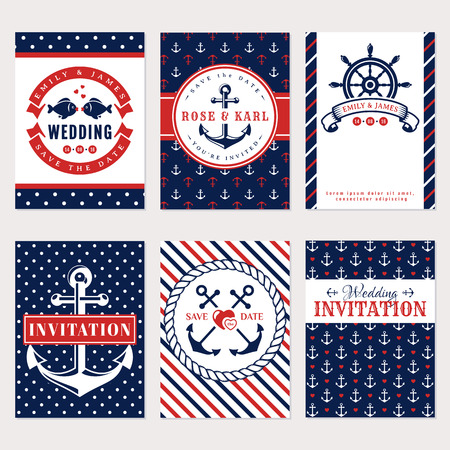 Nautical wedding invitation cards. Sea theme wedding party. Collection of elegant banners in white, red and blue colors. Vector set. Vettoriali