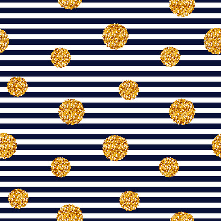 blue stripes: Striped background with gold glitter circles. Vector seamless pattern.