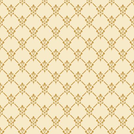 Damastbehang. Elegante achtergrond in Victoriaanse stijl. Elegant vintage ornament in neutrale kleuren. Vector naadloos patroon.