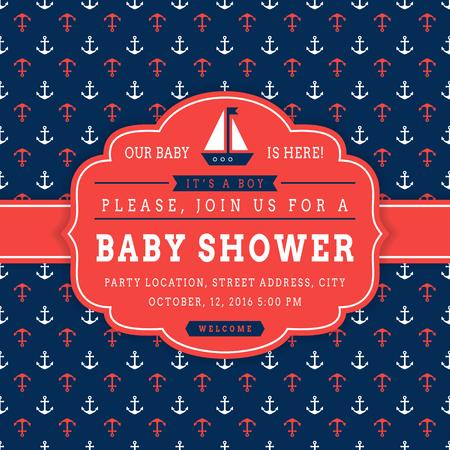 航海のベビー シャワー。海のテーマ赤ちゃんパーティーの招待状。帆ボートと背景にアンカーとかわいいカード。ベクトルの図。 写真素材 - 56439270