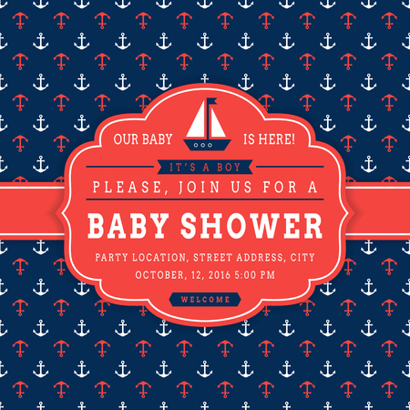 Nautical baby shower. Sea theme baby party invitation. Cute card with sail boat and anchors on background. Vector illustration.