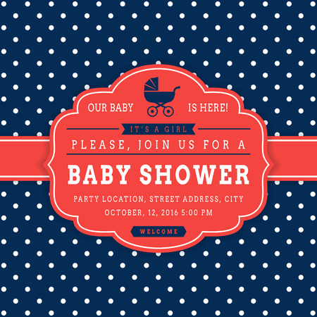 baby blue: Girl baby shower. Baby party invitation in retro style. Elegant card with polka dot background. Vector illustration in blue, red and white colors.