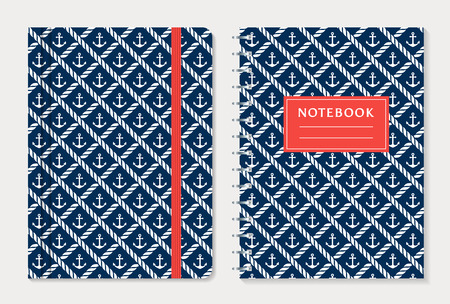 spiral notebook: Notebook cover design. Notepad with elastic band and spiral notebook with anchors and rope. Nautical style collection. Vector set. Illustration