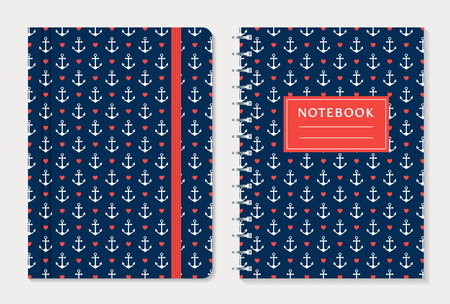 spiral notebook: Notebook cover design. Notepad with elastic band and spiral notebook with anchors and hearts. Nautical style collection. Vector set.
