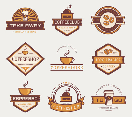 coffeehouse: Coffee logo templates. Set of labels for coffee shop or cafe. Logotypes isolated on white background. Vector collection.