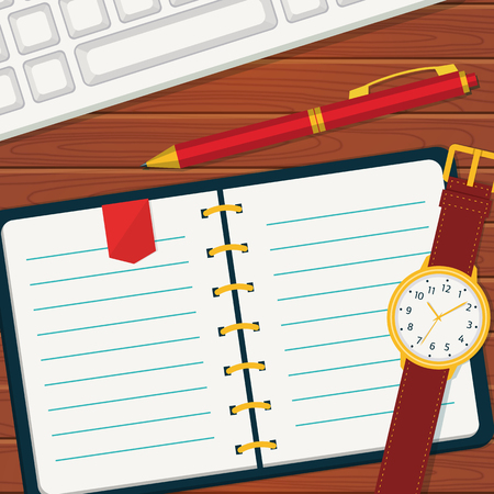 wristlet: Time management or planning banner. Vector concept background in flat style. Notebook with space for your text. Top view of blank notebook, wristlet watch, pen and keyboard.