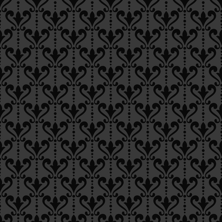 victorian wallpaper: Black damask wallpaper. Background in Victorian style. Elegant vintage ornament in monochrome colors. Vector seamless pattern. Illustration