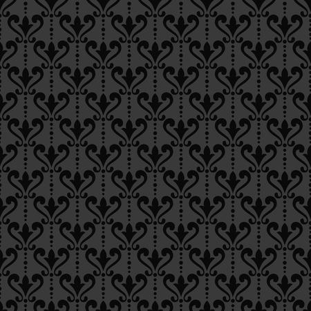 black damask: Black damask wallpaper. Background in Victorian style. Elegant vintage ornament in monochrome colors. Vector seamless pattern. Illustration