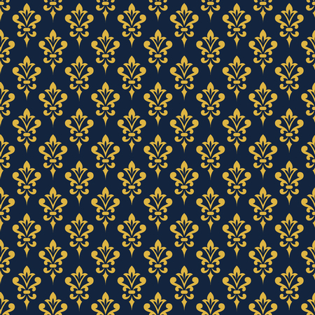 victorian wallpaper: Damask wallpaper. Background in Victorian style. Elegant vintage ornament in blue and gold colors. Vector seamless pattern.