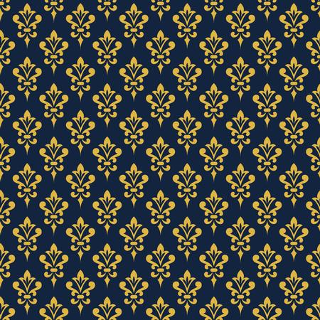 carta da parati damascata. Sfondo in stile vittoriano. Elegante ornamento vintage nei colori blu e oro. Vector seamless.