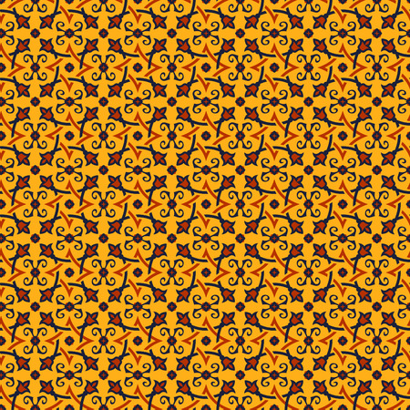 azerbaijani: Eastern seamless pattern in  yellow, orange and dark blue colors. Stylized oriental ornament. Vector abstract background.