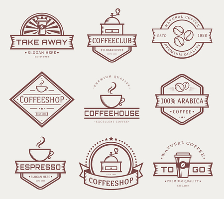 takeout: Coffee collection. Templates in outline style. Set of labels for coffee shop or cafe.