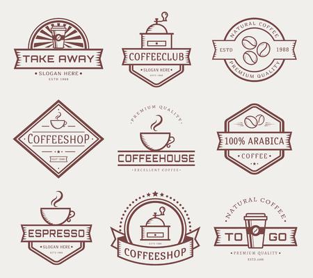 la raccolta del caffè. I modelli in stile contorno. Set di etichette per Caffetteria. Vettoriali