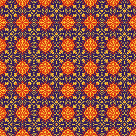 azerbaijani: Eastern seamless pattern in blue, red and yellow colors. Colorful oriental ornament. Vector abstract background.