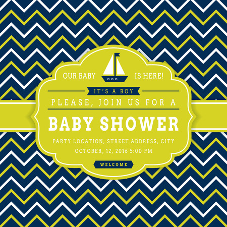 blue party: Nautical baby shower. Sea theme baby party invitation. Cute card with sail boat and chevron background. Illustration