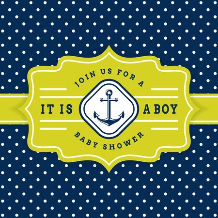 航海のベビー シャワー。海のテーマ赤ちゃんパーティーの招待状。アンカーと水玉の背景に、かわいいカード。 写真素材 - 56750472