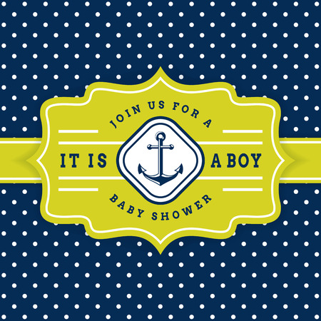 Nautical baby shower. Sea theme baby party invitation. Cute card with anchor and polka dot background. Ilustração