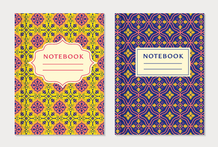 text books: Notebook cover designs. Two exercise books with abstract yellow, purple and pink pattern and place for text. Oriental style collection.