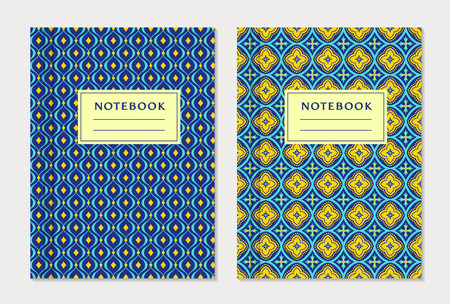 Notebook cover designs. Two exercise books with abstract blue and yellow pattern and place for text. Oriental style collection.