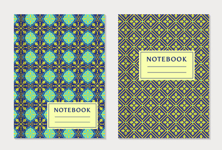text books: Notebook cover designs. Two exercise books with abstract blue and yellow pattern and place for text. Oriental style collection.