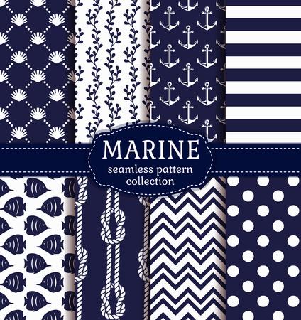 紺と白の色で海洋と航海の背景を設定します。海のテーマ。エレガントなシームレス パターン。 写真素材 - 56750324