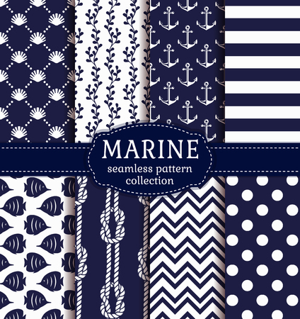Set of marine and nautical backgrounds in navy blue and white colors. Sea theme. Elegant seamless patterns.