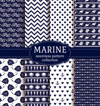 copperband butterflyfish: Set of marine and nautical backgrounds in navy blue and white colors. Sea theme. Seamless patterns collection.